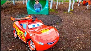 Alex Ride on the Giant Slide with Lightning McQueen Car at the Playground