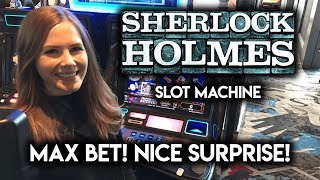 Max Bet! Sherlock Holmes Slot Machine! STRANGE way to come out a winner!