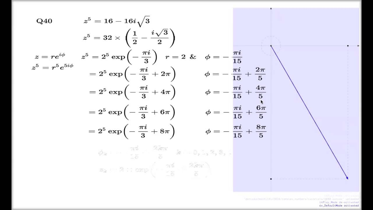 Tutorial Q40 Chapter 3 -- Root of complex number via exponential ...