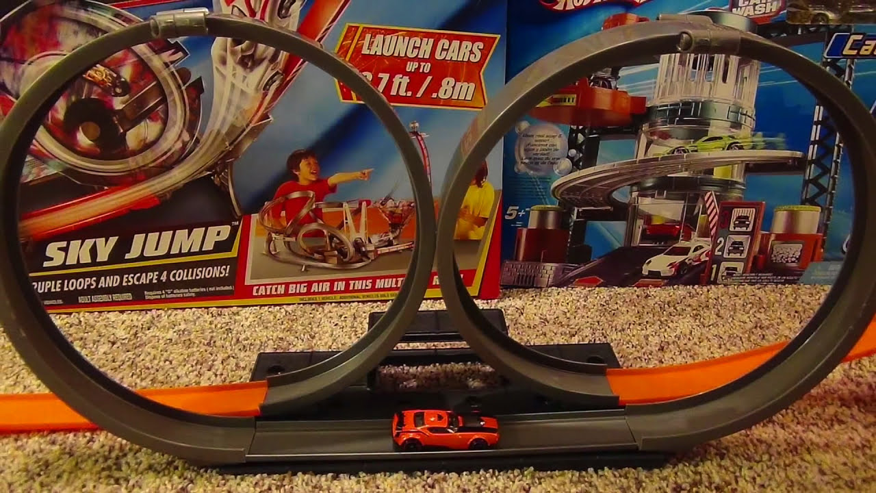 hot wheels double loop launch stunt set with launcher and. Black Bedroom Furniture Sets. Home Design Ideas