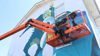 Painting a mural in Dordrecht - Streetart by Nina Valkhoff