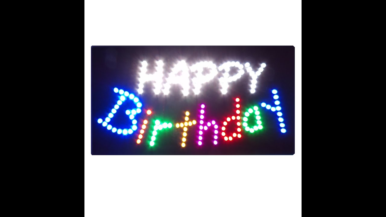 new happy birthday flashing led sign party hall shop window hanging