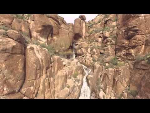 Rare waterfall in Superior AZ canyon