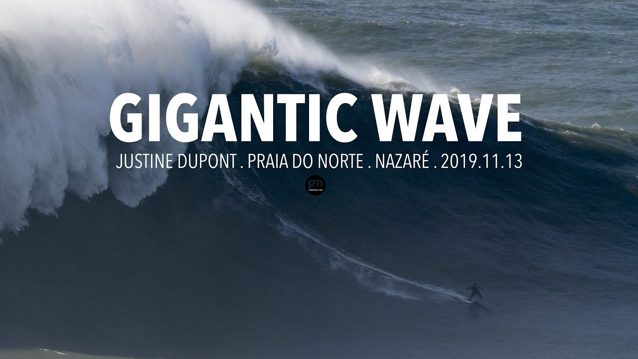 Gigantic Wave: Justine Dupont @ Nazaré, Portugal - 2019.11.13 [Surf, Big Waves, 4K]