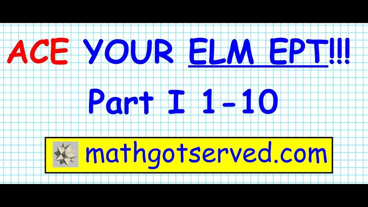 ELM EAP EPT math Test practice questions part I 1-10 - YouTube