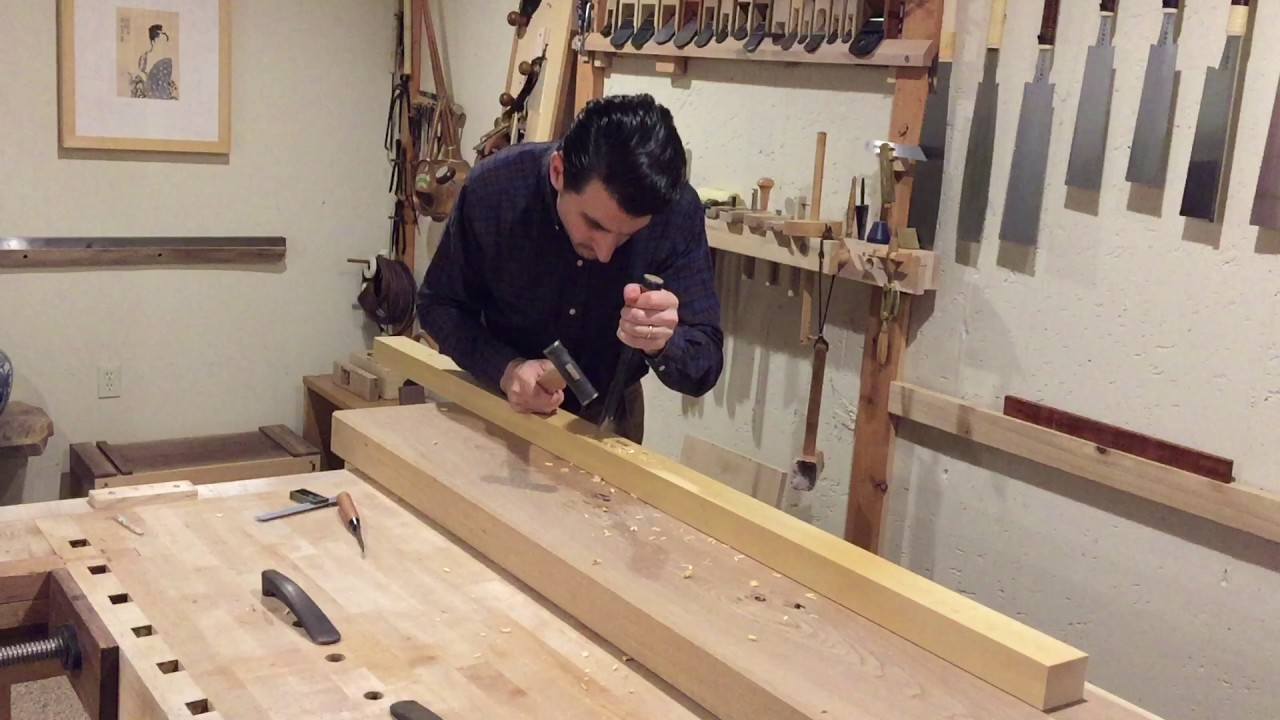 Mortising With Japanese Chisels Into Yellow Cedar Post