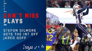 Stephon Gilmore Picks Off Jared Goff Late in the Game | Super Bowl LIII Can't-Miss Play