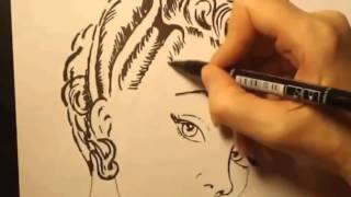 Урок рисования : Прическа 50-х годов. '50s Hairstyle.