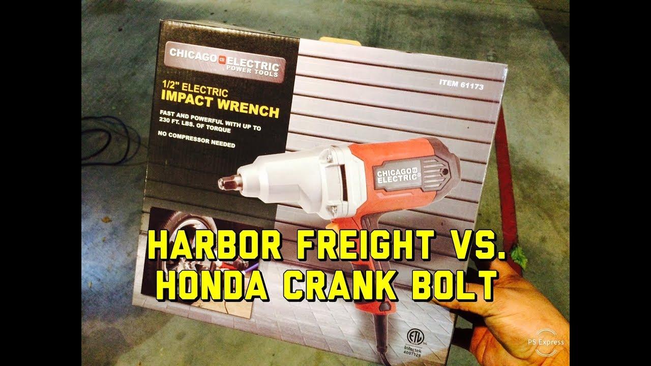 Harbor Freight 61173 1/2 Inch Electric Impact vs Honda Crankshaft Bolt  Removal V6 4 Cylinder Review