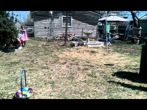 Etienne & Mia's Easter egg hunt 03-31-13 at nana Rosa's house Pt1