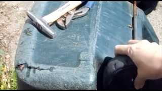 How to reattach a wheel to a trash can, garbage can, wheel barrel