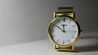 видео Золотые часы Geneva с Aliexpress. Отзыв с фото, ссылка на продавца.