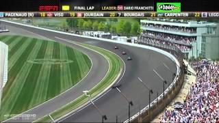 2012年 インディ500 最終ラップ、佐藤琢磨がトップを走るダリオ・フラン...