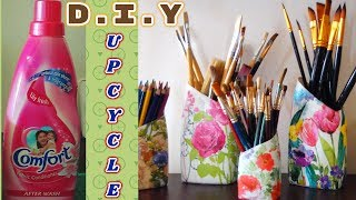 DIY: Upcycle/Decoupage/Mod Podge Detergent/Fabric Softener Plastic Bottes with Tissue Paper/Napkin