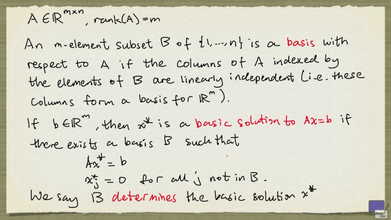 1 Basic Feasible Solution