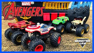 Marvel Avengers Monster Trucks | Saving Monster Jam City | Monster Trucks for Kids