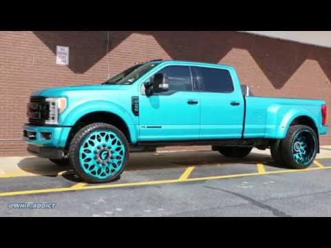 WhipAddict: 2019 Teal Wrapped Ford F450 Dually on Color Matched Forgiato Grano 28s!