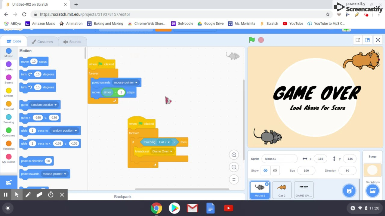 Scratch Tutorials Cat Mouse Game Youtube