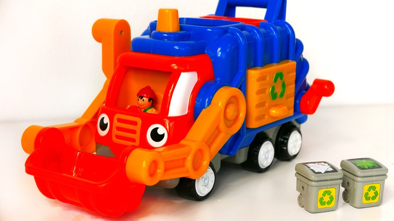 garbage truck toy for kids playset with trash cans youtube. Black Bedroom Furniture Sets. Home Design Ideas
