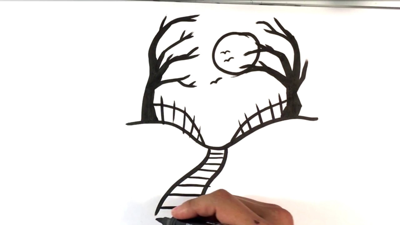 How to Draw a Spooky Road - Halloween Drawings - YouTube