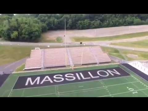 Massillon tigers football stadium -massillon ohio- aerial video