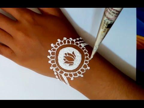 Simpel Henna Tangan Desain Gelang Warna Putih Youtube