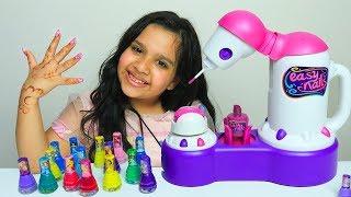 شفا تلعب لعبة ماكينة المناكير العجيبة !! shfa pretend play girl toys