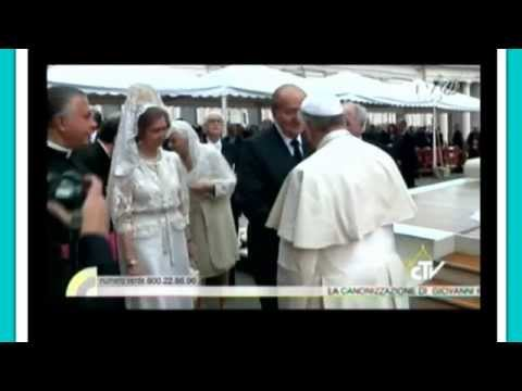 Pope Francis Greets Pope Benedict at Pope John Paul II Canonization  4/27/14