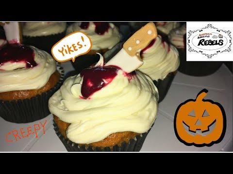 vegan-pumpkin-cupcakes-wtih-vanillafrosting-and-blood- -recipe-&-instructions