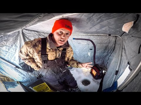 Ice Fishing During An Extreme Cold Warning.