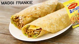 Maggi Frankie - Chatpati Masala Maggie Cheese Roll Veg Recipe - CookingShooking
