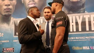 ANTHONY JOSHUA & DILLIAN WHYTE CONTINUE HEATED VERBALS IN HEAD TO HEAD @ FINAL PRESS CONFERENCE