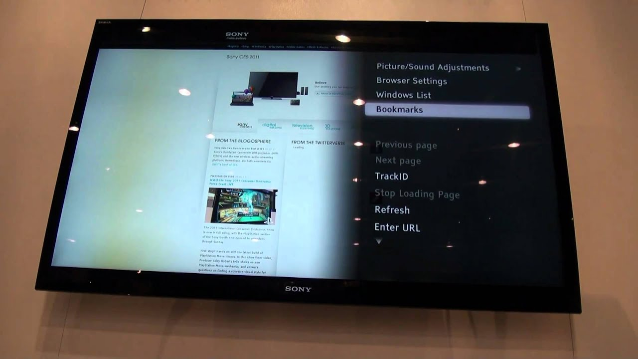 Hands on with sony bravia internet browser youtube for Camera tv web