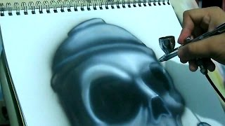 speed painting how to airbrush a skull spray can iwata eclipse hp cs