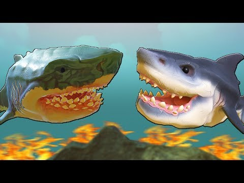 СТАРАЯ БЕЛАЯ АКУЛА ПРОТИВ МЕГАЛОДОНА | Feed and Grow Fish