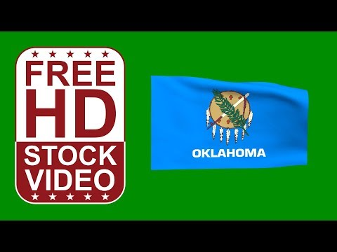 FREE HD video backgrounds – USA Oklahoma State flag waving on green screen 3D animation