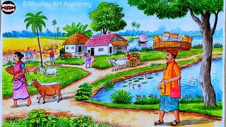 Beautiful Village Scenary Painting|How To Draw Village Scenary With Watercolor Step By Step