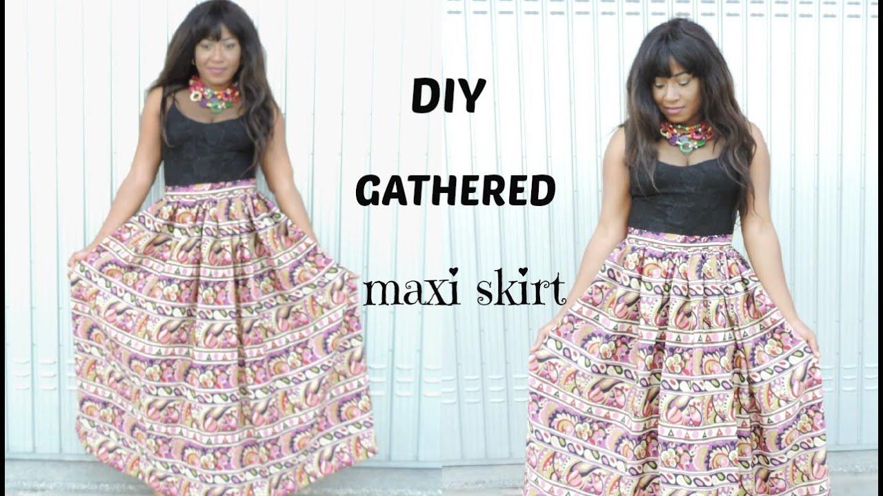 3c066fedaf5 SEWING   DIY GATHERED MAXI SKIRT - YouTube
