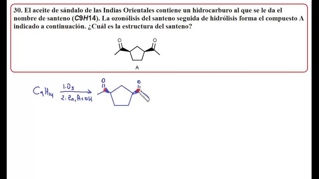 Problema 30 reacciones de alquenos youtube for Formula quimica del aceite de cocina