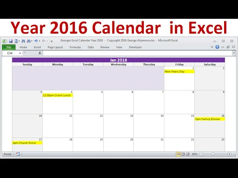 Excel Year 2016 Calendar, Full Year 2016 Calendar, 2016 Monthly