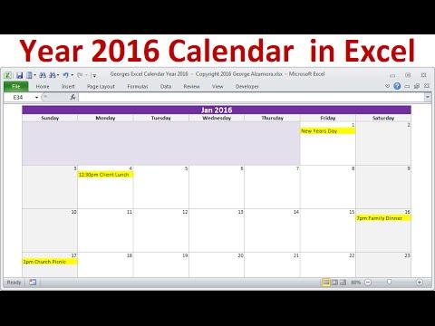 Excel Year 2016 Calendar, Full Year 2016 Calendar, 2016 Monthly