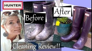 Hunter Boot Cleaning Review!! Cleaning and Polishing Rain Boots with Soap & Water VS. Olive Oil!