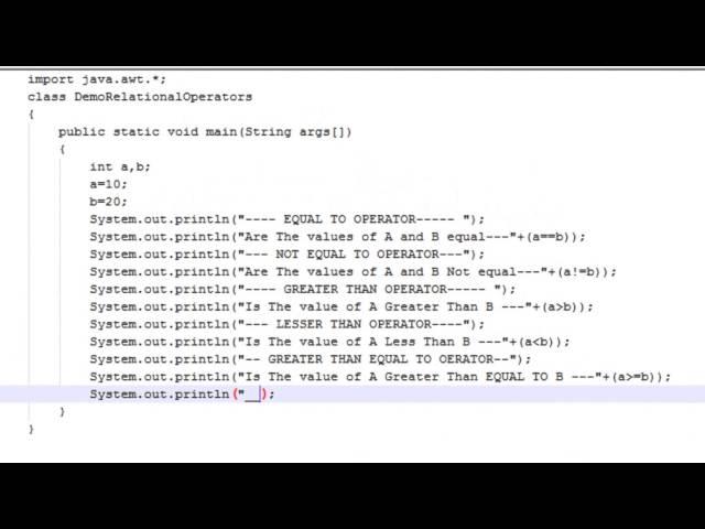 Java Tutorials-Java Operators(Relational Operators part 2)