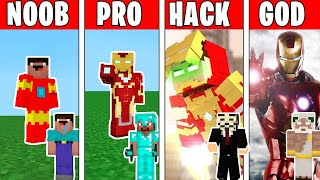 Minecraft NOOB vs PRO vs HACKER vs GOD : IRON MAN Challenge in Minecraft !