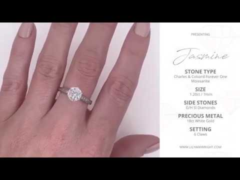 lily-arkwright---jasmine-1.20ct-/-7mm-moissanite-18ct-white-gold-solitaire-ring