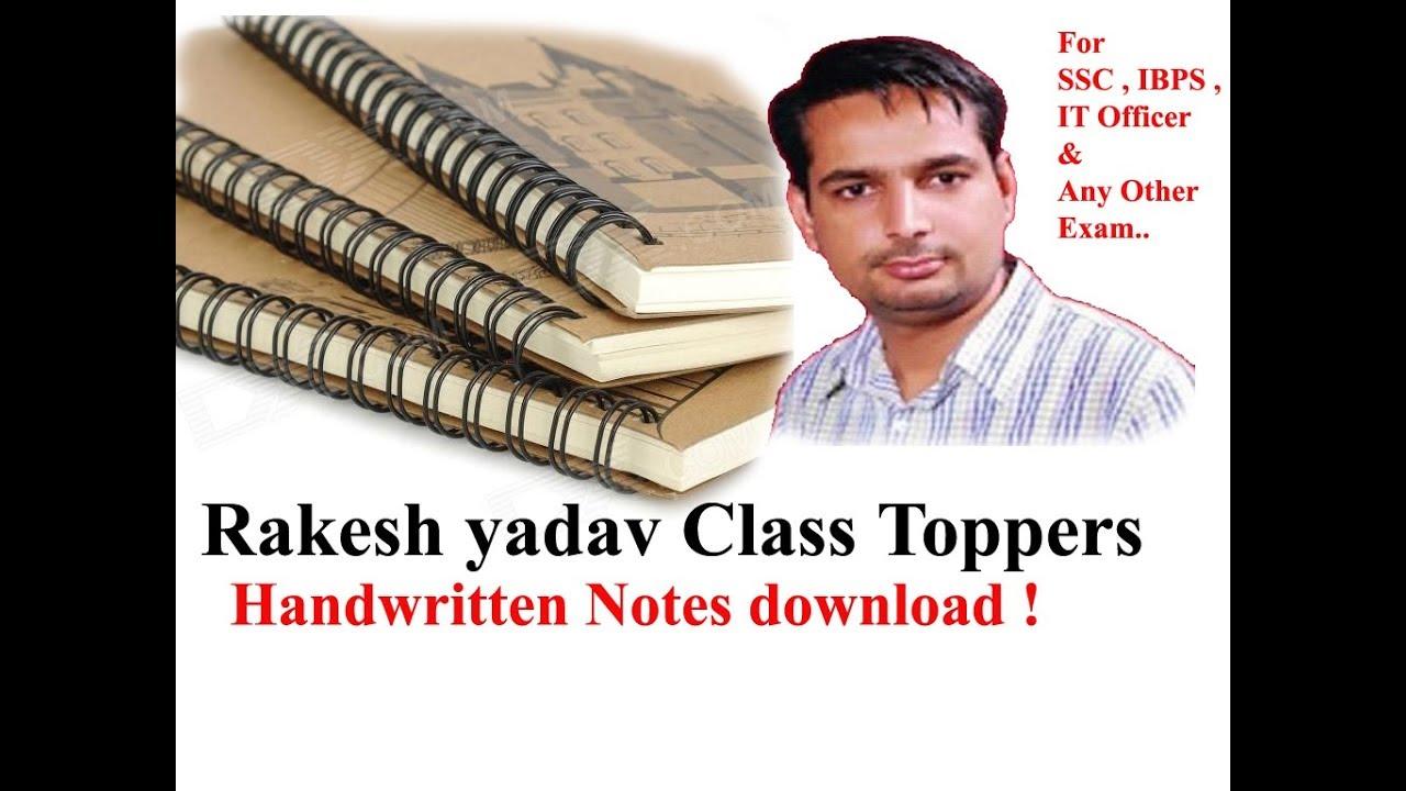 Rakesh yadav Class Toppers Handwritten Notes download !