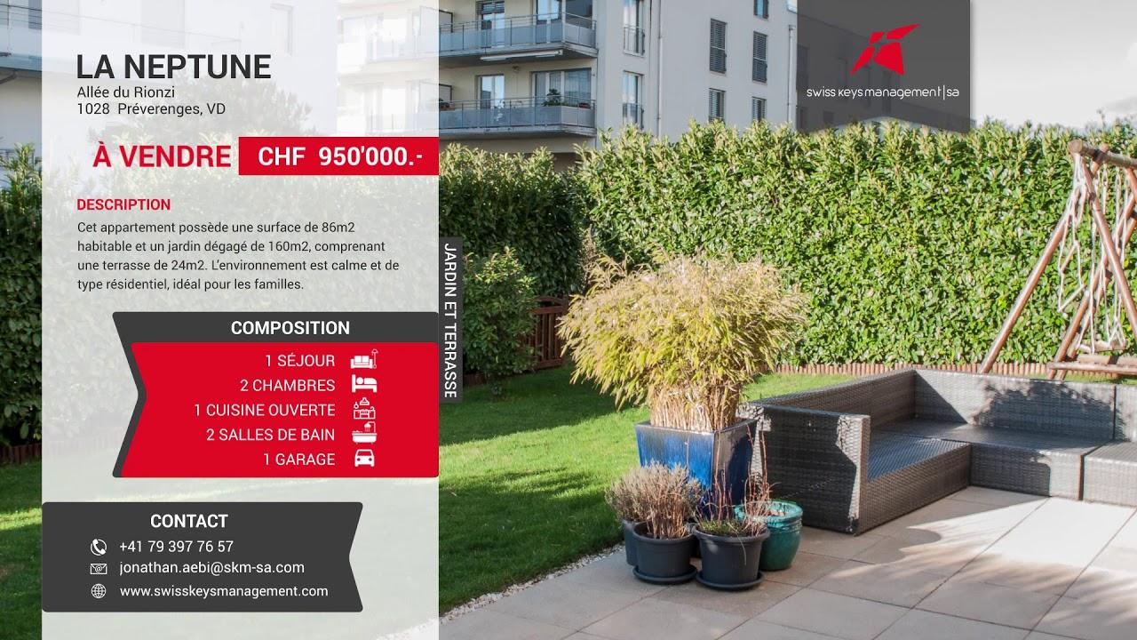 À VENDRE: Superbe appartement 3.5 p de 86 m2 au rez avec terrasse et jardin