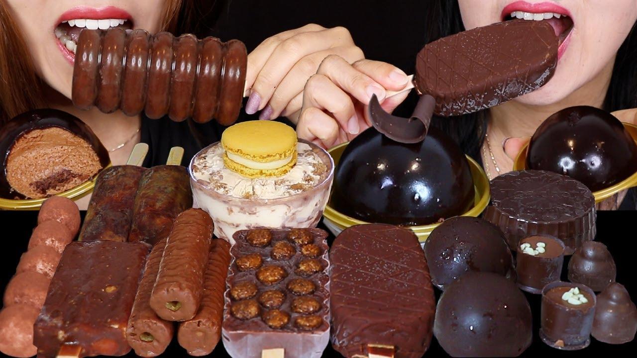 ASMR MILK VS DARK CHOCOLATE CARAMEL DOME CAKE, CRUNCHY ICE CREAM BON BONS, JELLY MARSHMALLOW STICK먹방