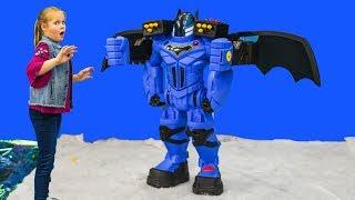 BATBOT Assistant Unboxes Batman Robot Funny Toy Video