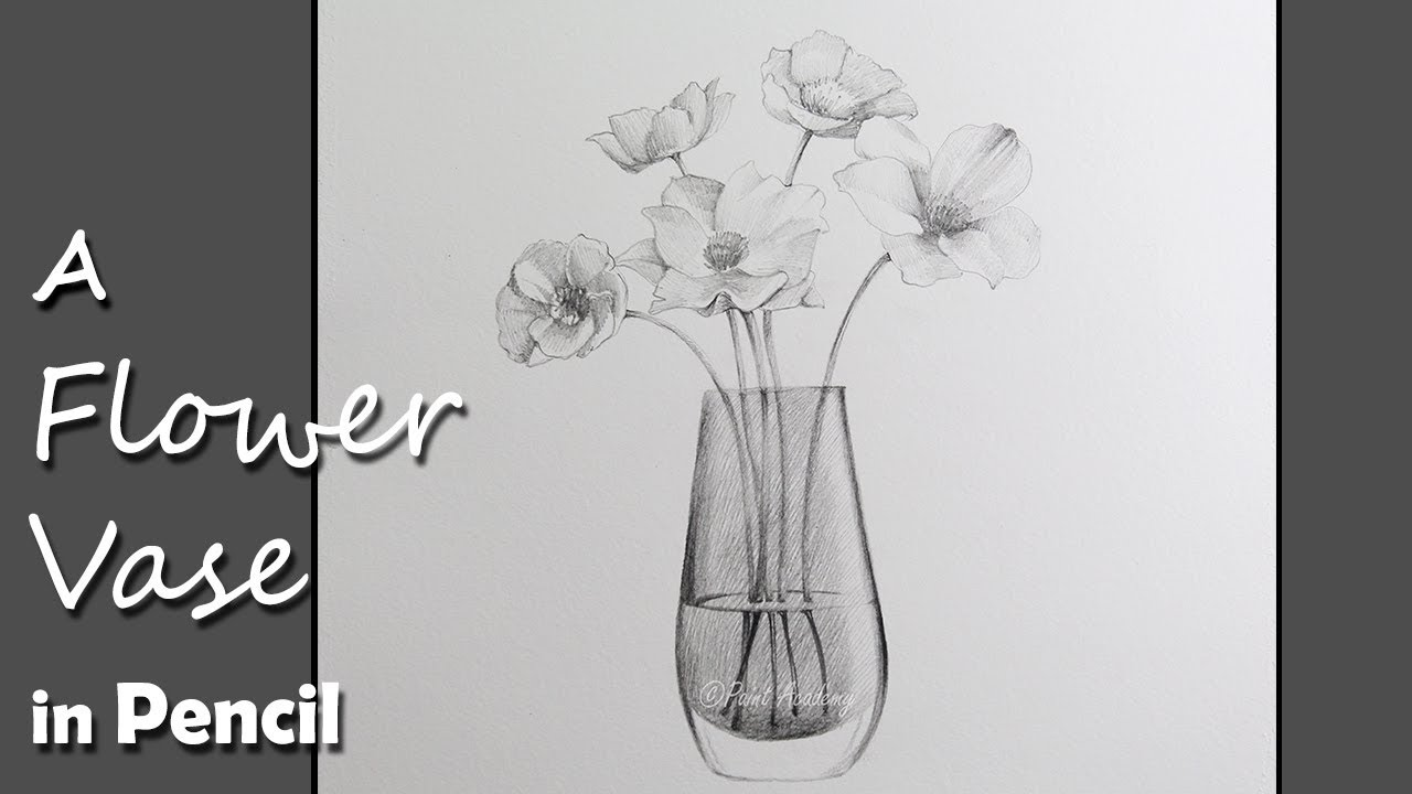 Drawing A Flower Vase In Pencil